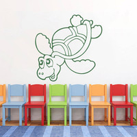 Funny Sea Turtle Vinyl Decals Wall Sticker Art Design Baby Children Nursery Room Nice Picture Home Decor Interior ki379