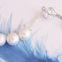 Pearl Navel Ring Belly Ring-Silver Body Piercing Dangle