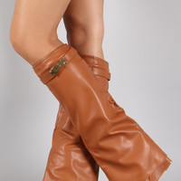 Twist-Lock Pointy Toe Fold Over Cuff Knee High Wedge Boots