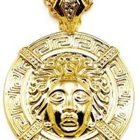 Medusa Necklace New Large Head Gold Color Pendant Necklace With 37 Inch 6mm Cuban Link Chain Chris Brown