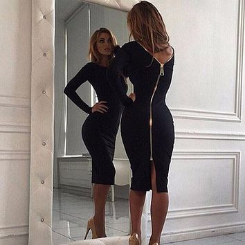 Sexy Women Bandage Dress Spring Night Black Bodycon Dress long Sleeve Red Party Midi Dresses Solid Sheath Zippers Retro Backless