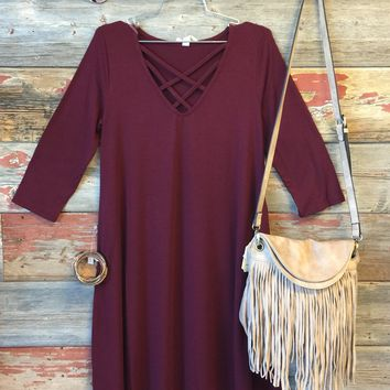 Fall Fun Dress: Burgundy
