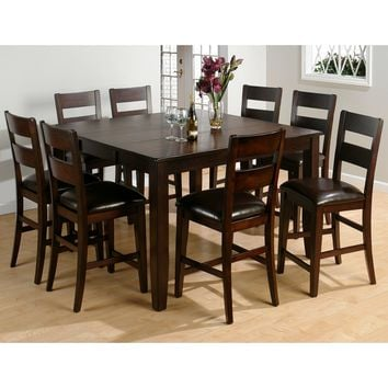 Dark Rustic Prairie 9 Piece Counter Height Butterfly Leaf Table & Counter Stool Set