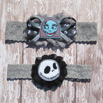 Jack and Sally Garter Set...Nightmare Before Christmas Wedding Garters...Bridal Garter and Toss Garter