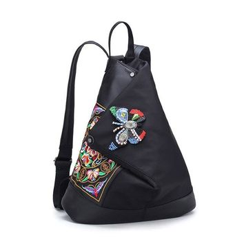 University College Backpack DXYZ Brand New Chinese Style Vintage Girl Female Embroidered  National Butterfly Bag Nylon  Students School BagsAT_63_4