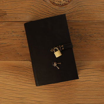 The Secret Diary, Black Leather / Tea-Stained Pages - Made-to-Order