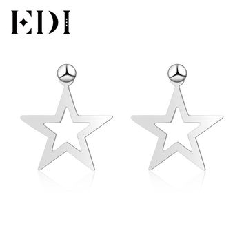 EDI Round Ball Star Stud Earrings Genuine 100% 925 Sterling Silver A Dual-use Earrings For Women Whim Daily Match Silver Jewelry