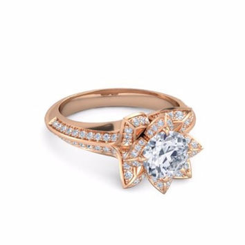 1.50ct Lab Created Diamond Flower Engagement Ring set in 14k Gold