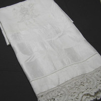 Two 1940s Linen Monogrammed & Lace Trimmed Damask Towels with Family Crest and Iris Pattern - Fabulous! ~~by TeamVintage USA!