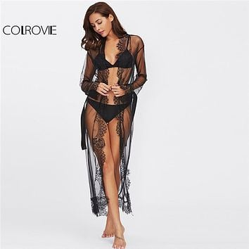 COLROVIE 2018 Eyelash Lace Trim Plus Size Mesh Robe With Belt Black Long Sleeve Ankle-length Kimono Blouse Women Sexy Sleepwear