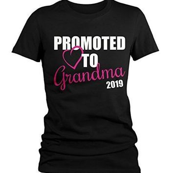 Shirts By Sarah Women's Promoted To Grandma 2019 T-Shirt New Grandparents Baby Reveal