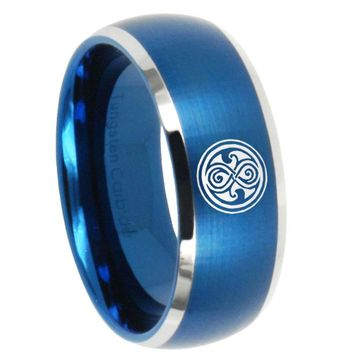 10mm Doctor Who Dome Brushed Blue 2 Tone Tungsten Carbide Mens Ring Personsized