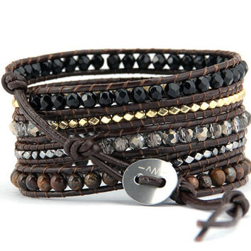 Brown leather wrap bracelets made with mixed 2 mm Agate beads, Tigers eye beads, gold & Hematite beads on a 5 x wrap is adjustable
