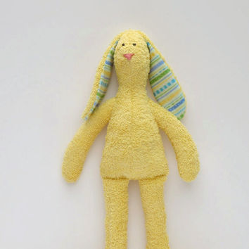 Stuffed bunny- Lovely soft terry cloth bunny rabbit hare - yellow softie plush bunny toy- gift for baby shower,gift for girl and boy