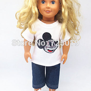 "Free shipping!!!Hot 2016 new style popular ""American girl dolls clothes T-shirt + jeans"