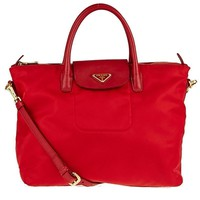 Prada Classic Red Tessuto Nylon/Saffiano Leather Trim Large Tote Bag BN2541