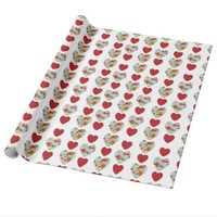 Floral Heart Pattern Wrapping Paper