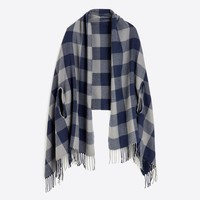 Plaid cape-scarf