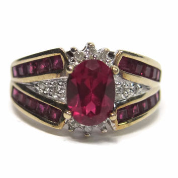 Vintage 10K Synthetic Oval Ruby and Diamond Ring Size 7