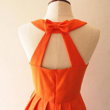 Love Potion - Orange Dress Tangerine Dress Short Party Dress Bridal Party Dress Low Back Prom Dress Orange Bridesmaid Dress Halloween