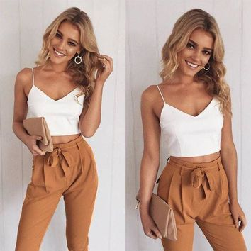 ICIKON3 Women two piece outfits pants set rompers jumpsuit long pants 2 piece set v neck crop tops bodycon palysuit