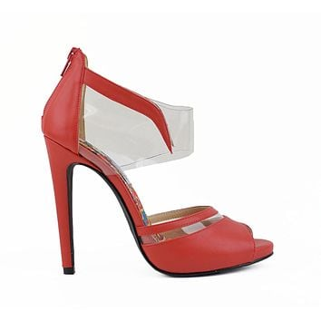 Red Pointed Toe Clear Design Ankle Strap Stiletto Heel Pumps