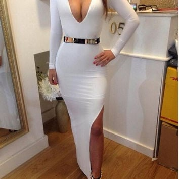 2014 Women Bandage Dress Women's Summer Sexy Bodycon Splicing Long Sleeve Deep V-Neck Night Club Party Bodycon Dresses Vestidos = 1932579780