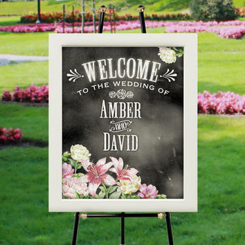 "Welcome to our Wedding Chalk Style Personalized Poster | Peach, Pink, White Floral Design with Names of Bride & Groom (16""x20"" UNFRAMED)"