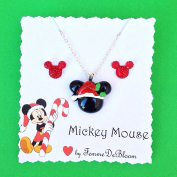 Handmade Mickey Mouse Inspired Christmas Santa Hat Necklace and Earring Set - Disney Inspired Christmas Jewelry