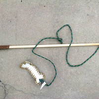 Custom Flirt Poles With Leather Accents and Tough Leather Toy For Small/Medium Dogs