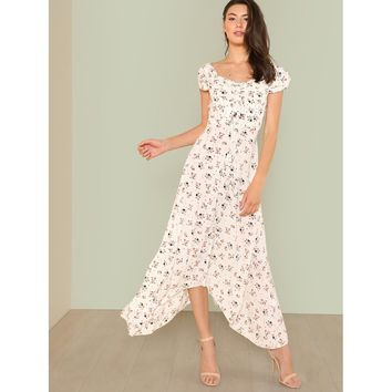 Drawstring Front Bardot Floral Maxi Dress