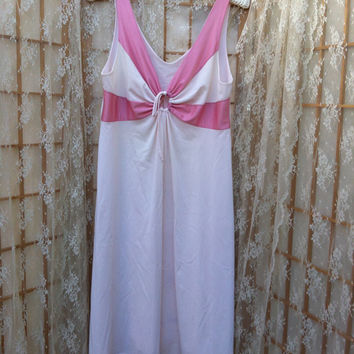 Vintage 70s Pink Sunburst Soft Nylon Shadowline Nightgown Dress