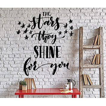 Wall Vinyl Decal Romantic Love Words The Stars They Shine For You Decor Unique Gift z4336