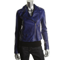 Theory Womens Lamb Leather Asymmetric Motorcycle Jacket