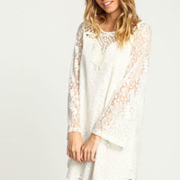 IVORY EMBROIDERED CROCHET SHIFT DRESS