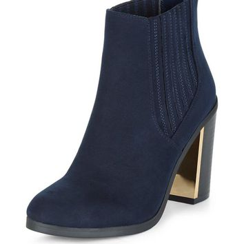 Navy Metal Trim Block Heel Chelsea Boots