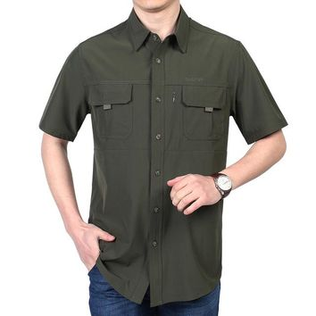 Hiking Shirt camping 2018 Men Fishing Shirt Short Sleeve s Fast Dry Summer Button Down Shirt Breathable Outdoor Fishing Shirts KO_17_1