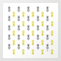 Yellow & Grey Scatter Pines Art Print by Miss Paperie