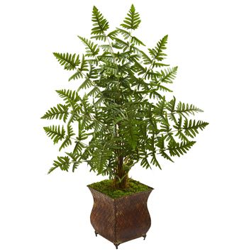 Artificial Tree -Ruffle Fern Palm Tree with Metal Planter