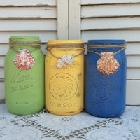 3 Up-Cycled Vintage Mason Jars with Shells