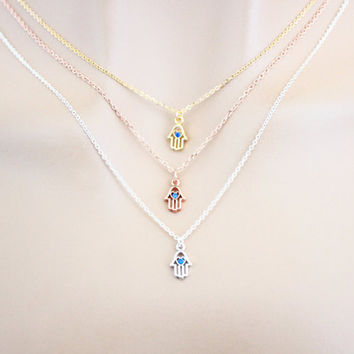 Super, Tiny, Blue, Zircon, Hamsa, Gold filled, Sterling silver, Pink gold filled, Chain, Gold, Silver, Pink gold, Necklace, Gift, Jewelry