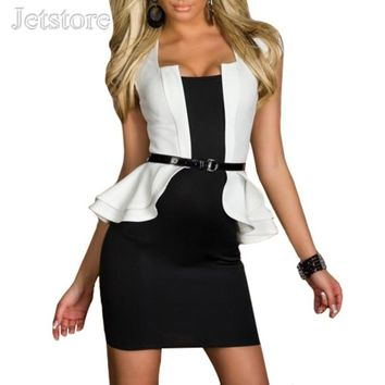 Fashion Women Sexy Peplum Work Spring Autumn Dress Womens clothing Bodycon Cap-sleeves Career Work Dresses With Belt 8 8967