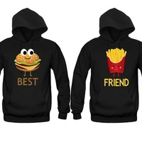 Hamburger and French Fries Girl BFFS Hoodies