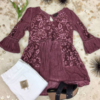 Lacy Bell Sleeve Baby Doll Top - Burgundy
