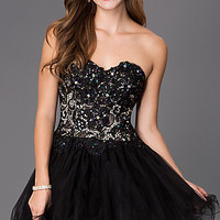 Strapless Sweetheart Dress with Lace Bodice