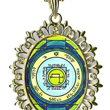 Solomons 5th Sun to Quickly Transport Anywhere Huge Light Gold Medallion Rhinestone Pendant