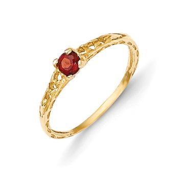 Size 3 14kt Yellow Gold 3mm Genuine Garnet Birthstone Girls Ring