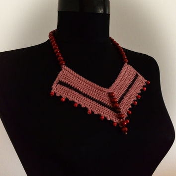 Crochet Bib,Knitted jewelry,Brown necklace,Tshirt yarn necklace,Beaded earrings,Any occasion necklace,Unique Necklaces For Women,Gift