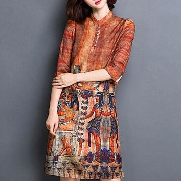 New Fashion Print Silk Chiffon Floral Dress