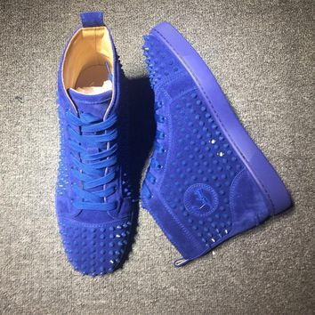 Cl Christian Louboutin Louis Spikes Mid Style #1814 Sneakers Fashion Shoes